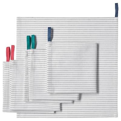 "GRUPPERA Serviettes de table, blanc/noir, 13x13 """