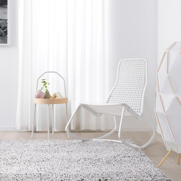 GUBBÖN Fauteuil à bascule, int/ext, blanc