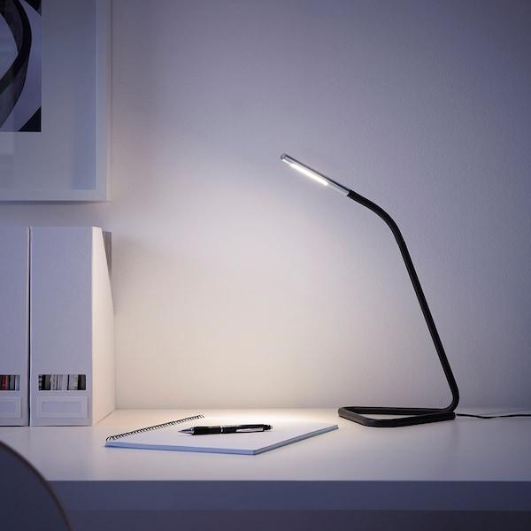 HÅRTE Lampe de travail à DEL, noir/gris argent