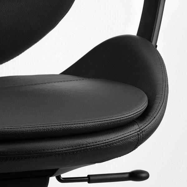 HATTEFJÄLL Chaise de bureau av accoudoirs, Smidig noir/noir