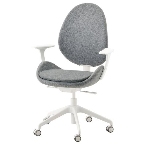 """HATTEFJÄLL chaise de bureau av accoudoirs Gunnared gris moyen/blanc 242 lb 8 oz 26 3/4 """" 26 3/4 """" 43 1/4 """" 19 5/8 """" 15 3/4 """" 16 1/8 """" 20 1/2 """""""
