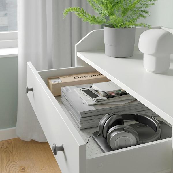 "HAUGA Commode à 3 tiroirs avec tablette, blanc, 27 1/2x45 5/8 """