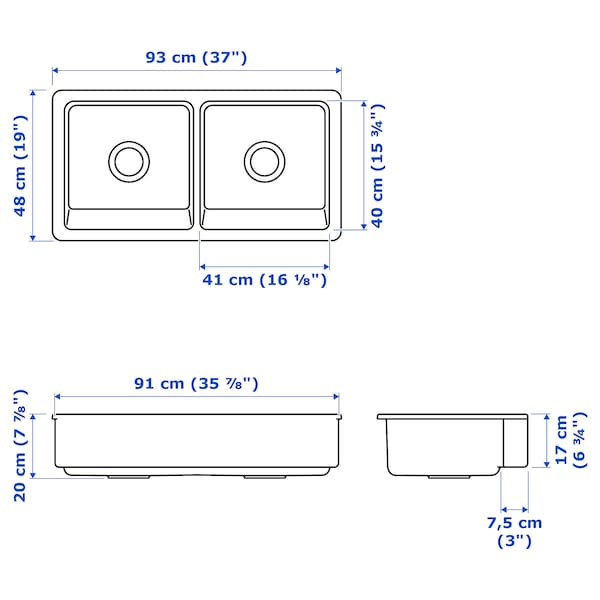 Havsen Evier A 2 Bacs Et Tablier Blanc Ikea