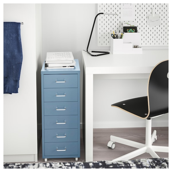 Helmer Caisson Tiroirs A Roulettes Bleu Ikea