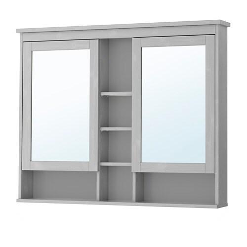 Hemnes armoire pharmacie 2 portes miroir gris 120x98 Ikea armoire salle de bain