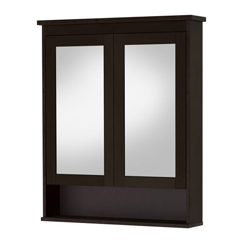 hemnes armoire pharmacie 2 portes miroir brun noir. Black Bedroom Furniture Sets. Home Design Ideas