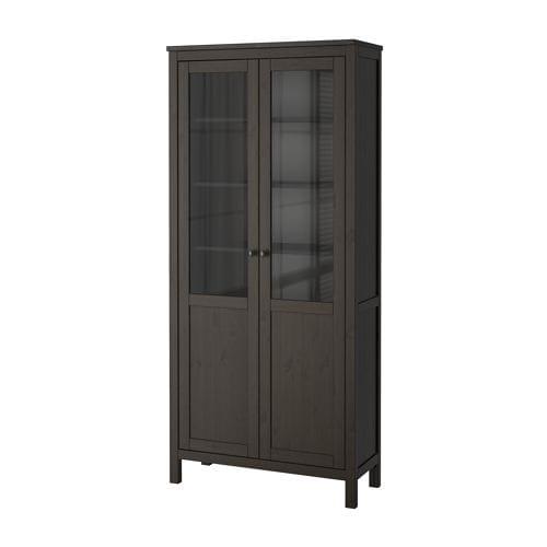 hemnes armoire avec porte semi vitr e brun noir ikea. Black Bedroom Furniture Sets. Home Design Ideas