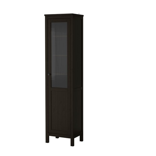 hemnes armoire avec porte semi vitr e brun noir ikea. Black Bedroom Furniture Sets. Home Design Ideas