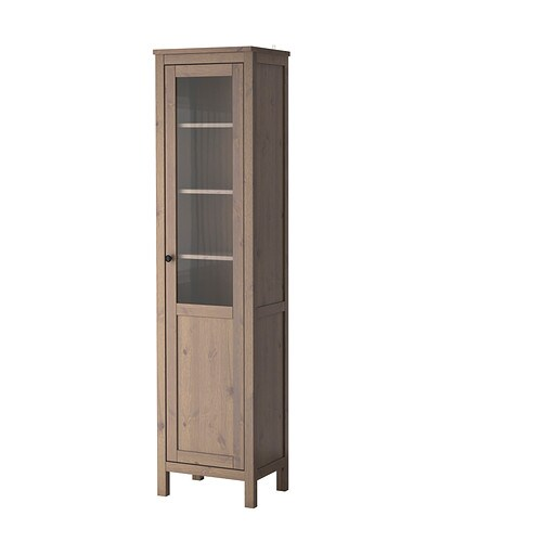 hemnes armoire avec porte semi vitr e gris brun ikea. Black Bedroom Furniture Sets. Home Design Ideas