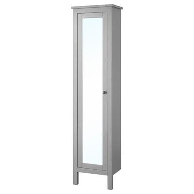 """HEMNES Armoire haute à porte miroir, gris, 19 1/4x12 1/4x78 3/4 """""""