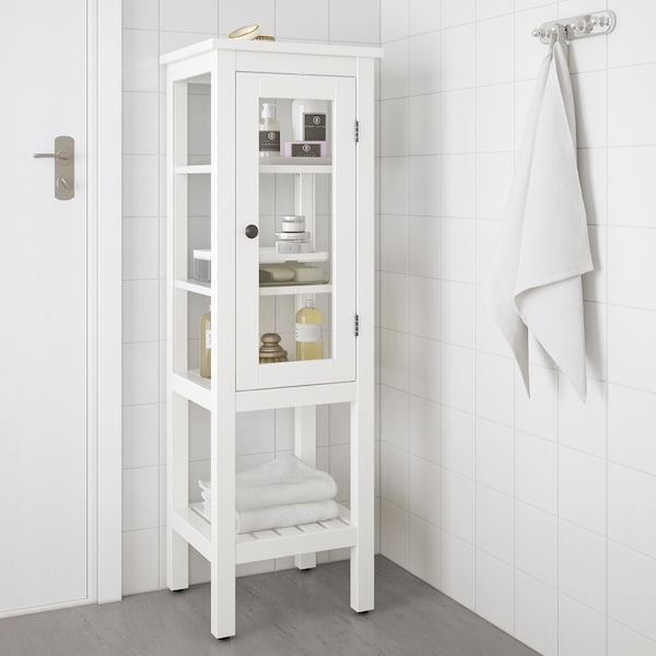 "HEMNES Armoire haute porte vitrée, blanc, 16 1/2x15x51 5/8 """