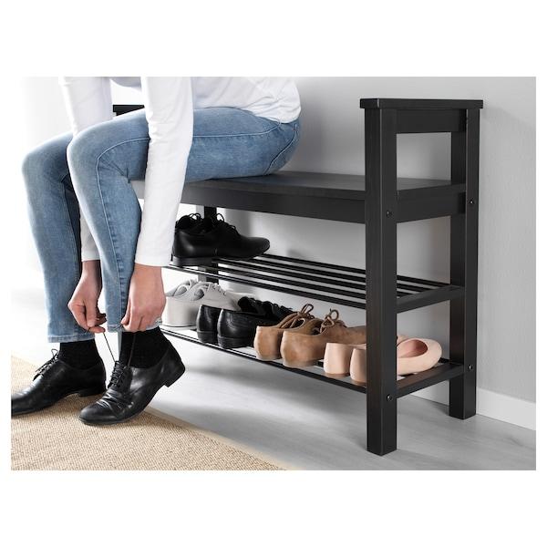 HEMNES Banc range-chaussures - brun-noir - IKEA