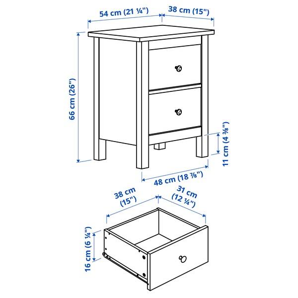 """HEMNES Commode à 2 tiroirs, teinté blanc, 21 1/4x26 """""""