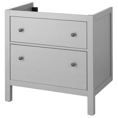 "HEMNES Meuble pour lavabo, 2 tiroirs, gris, 31 1/2x18 1/2x32 5/8 """