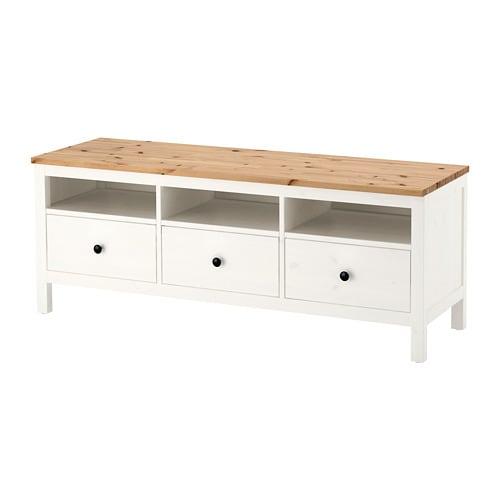 Hemnes Meuble Télé Teinté Blancbrun Clair Ikea