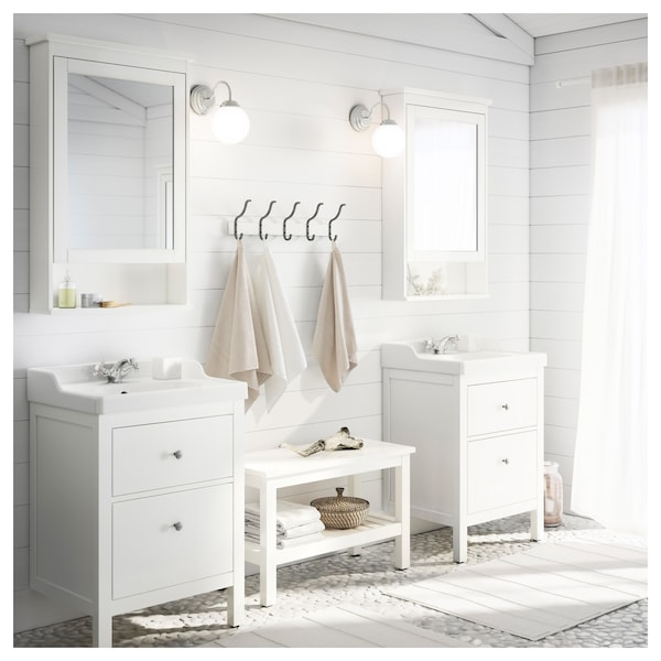 "HEMNES / RÄTTVIKEN Meuble pour lavabo, 2 tiroirs, blanc/mitigeur lavabo Runskär, 24 3/8x19 1/4x35 """