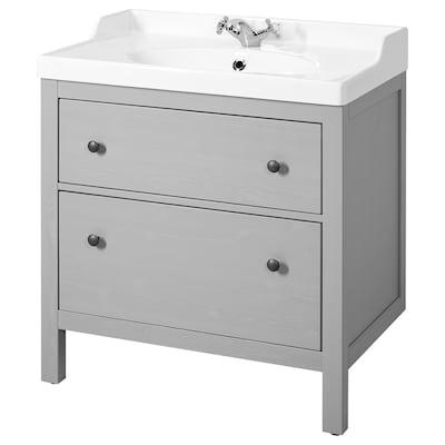 """HEMNES / RÄTTVIKEN Meuble pour lavabo, 2 tiroirs, gris, 32 1/4x19 1/4x35 """""""