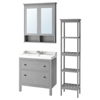 """HEMNES / RÄTTVIKEN Mobilier salle de bains, 5 pièces, gris/mitigeur lavabo Runskär, 32 1/4 """""""