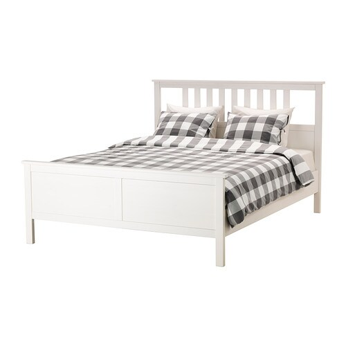 hemnes structure de lit grand deux places lur y teint blanc ikea. Black Bedroom Furniture Sets. Home Design Ideas