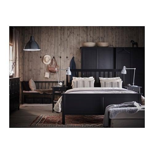 Hemnes Structure De Lit Grand Deux Places Brun Noir Ikea