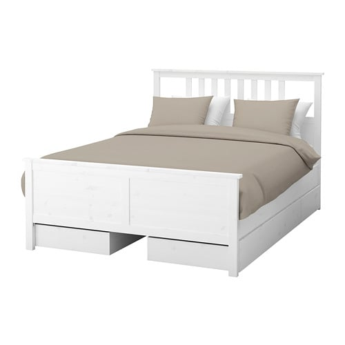 hemnes structure lit 4 coffres rangement deux places eidfjord sommier tapissier teint blanc. Black Bedroom Furniture Sets. Home Design Ideas