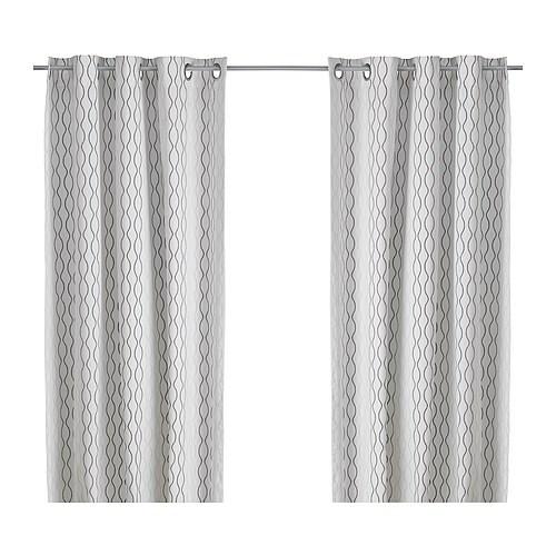 henny rand rideaux 2 panneaux blanc brun gris ikea. Black Bedroom Furniture Sets. Home Design Ideas
