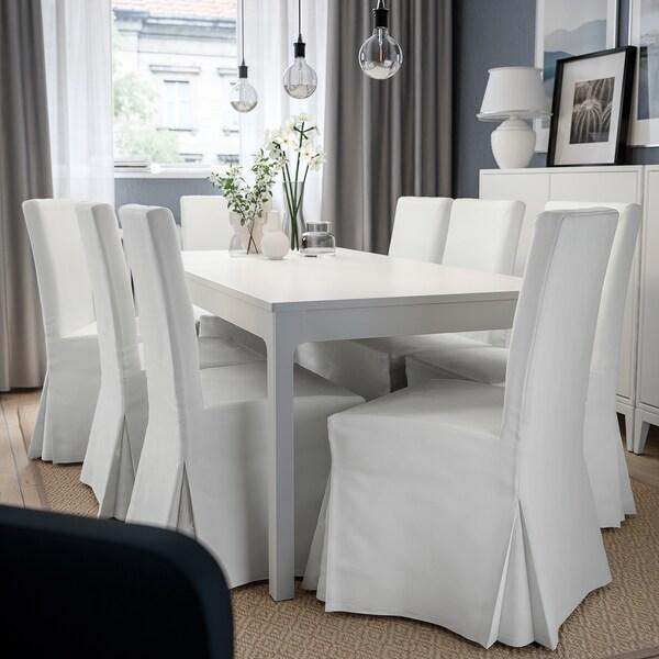 HENRIKSDAL Chaise avec housse longue, brun foncé/Blekinge blanc