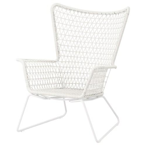 """HÖGSTEN fauteuil, extérieur blanc 29 1/8 """" 30 3/4 """" 36 5/8 """" 17 3/8 """" 19 5/8 """" 13 """""""