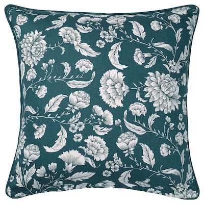 "IDALINNEA Housse de coussin, bleu/blanc/à motif floral, 20x20 """