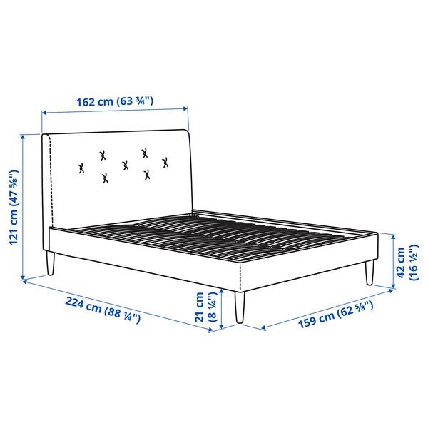 IDANÄS Structure de lit matelassée, Gunnared gris foncé, Grand deux places