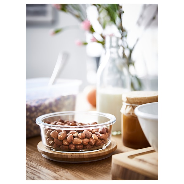 IKEA 365+ Contenant alim. avec couvercle, rond verre/bambou, 14 oz