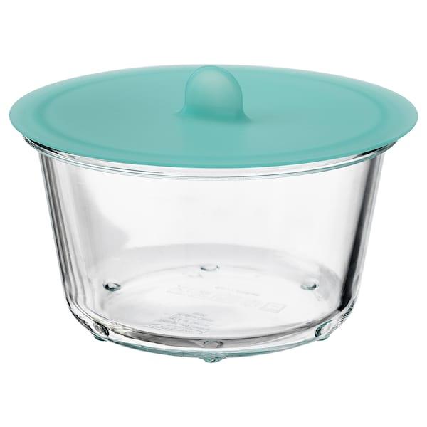 IKEA 365+ Contenant alim. avec couvercle, rond verre/silicone, 20 oz