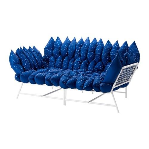 IKEA PS 2017 Causeuse avec 36 coussins, blanc, bleu foncé blanc/bleu foncé