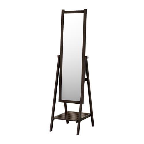 Isfjorden miroir sur pied brun noir ikea for Miroir ikea noir