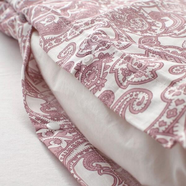 JÄTTEVALLMO Housse de couette et taie(s), blanc/rose foncé, Deux places/grand deux places