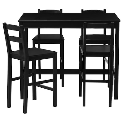 JOKKMOKK Table haute + 4 tabourets bar, brun-noir