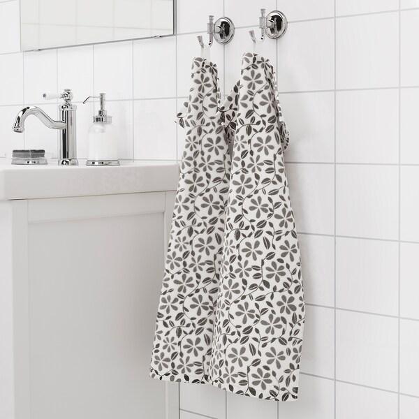"""JUVELBLOMMA Essuie-mains, blanc/gris, 16x28 """""""