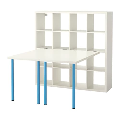 Kallax agencement bureau blanc bleu ikea for Meuble kallax blanc