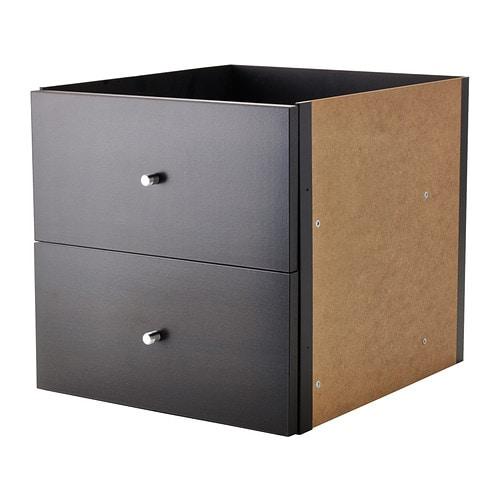 kallax casier 2 tiroirs brun noir ikea. Black Bedroom Furniture Sets. Home Design Ideas