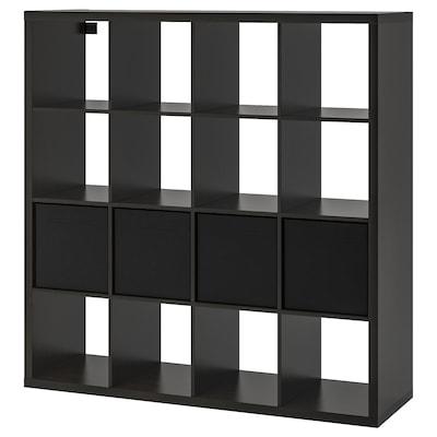 """KALLAX Étagère avec 4 accessoires, brun-noir, 57 7/8x57 7/8 """""""