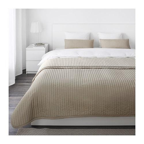 KARIT Couvre-lit et 2 housses coussin, beige beige Grand deux places/TG deux places