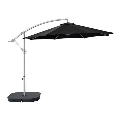 KARLSÖ / SVARTÖ Parasol, suspendu avec socle   noir/gris foncé   IKEA