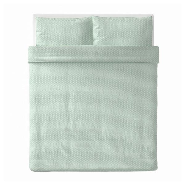 KASKADGRAN Housse de couette et taie(s), blanc/turquoise clair, Deux places/grand deux places