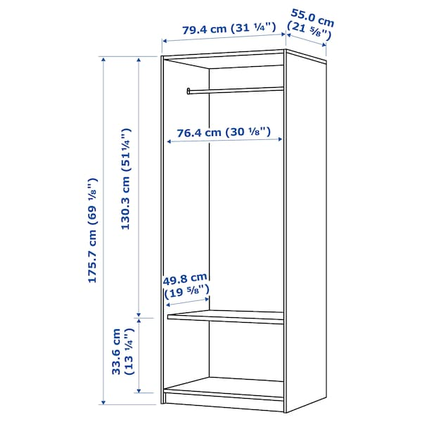 "KLEPPSTAD Armoire-penderie 2 portes, blanc, 31 1/4x69 1/4 """