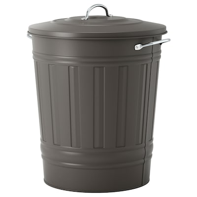 KNODD Poubelle, gris, 11 gallon