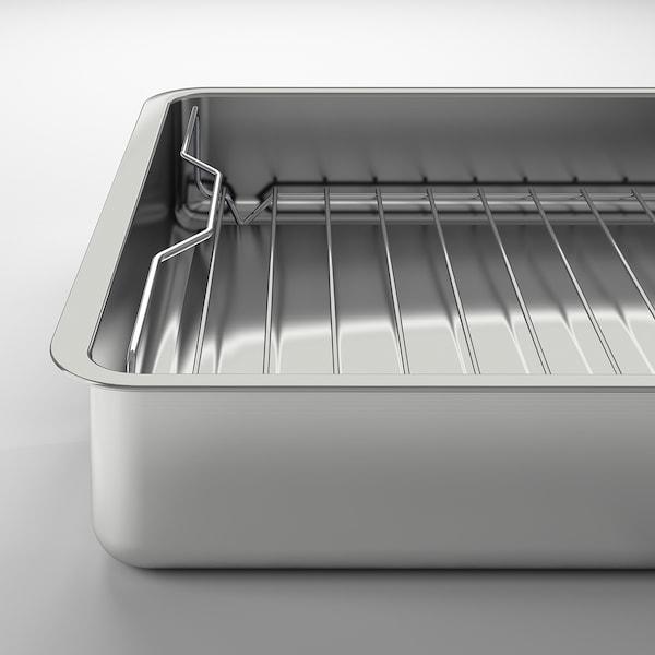"""KONCIS Plat à four avec grille, acier inox, 16x13 """""""