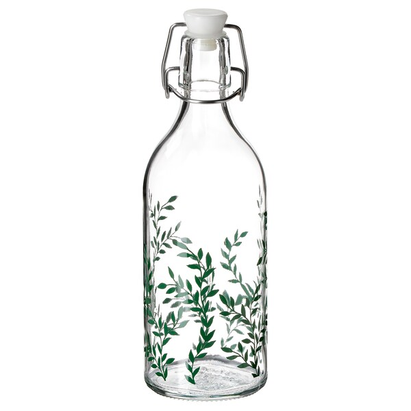 KORKEN Bouteille avec bouchon, verre clair/à motifs vert, 17 oz