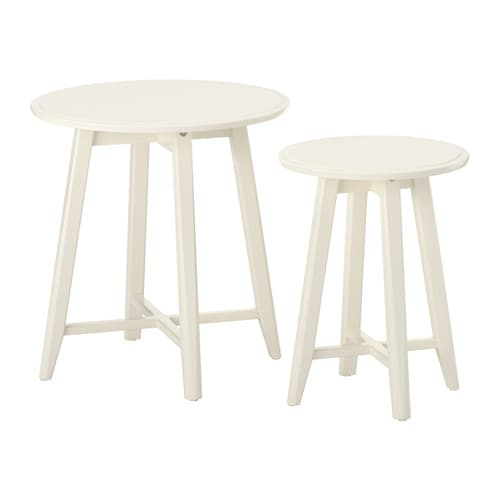 Kragsta tables gigognes 2 pi ces blanc ikea for Table gigogne ikea