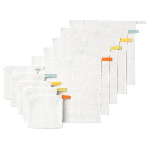 """KRAMA débarbouillette blanc 12 """" 12 """" 10 pièces"""