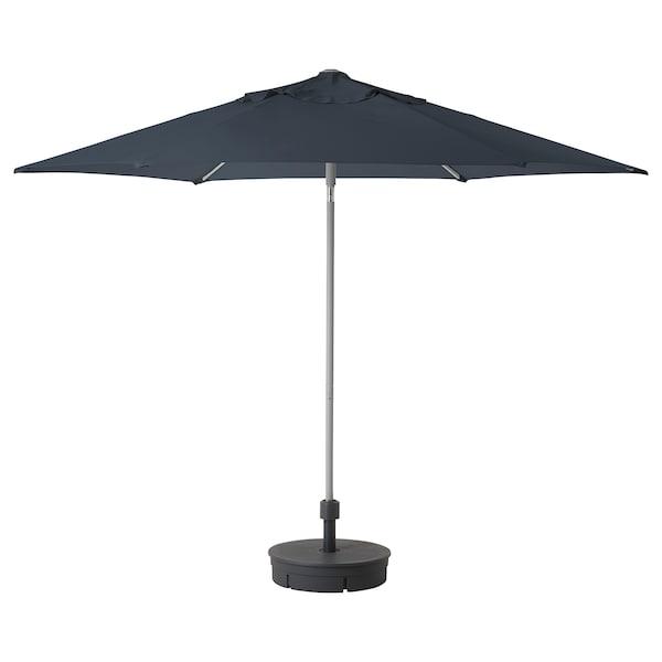 "KUGGÖ / LINDÖJA Parasol avec pied, bleu/Grytö gris foncé, 118 1/8 """